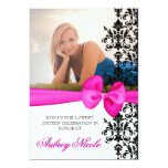 Bowed Damask Accented 5 x 7 Invite [Pink] 13 Cm X 18 Cm Invitation Card