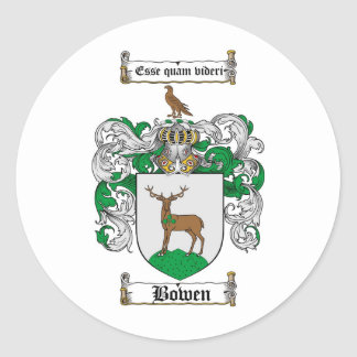 BOWEN FAMILY CREST -  BOWEN COAT OF ARMS ROUND STICKERS