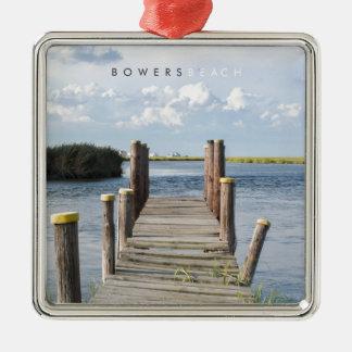 Bowers Beach - Delaware. Silver-Colored Square Decoration