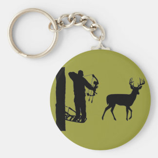 Bowhunter in Treestand Shooting Deer Basic Round Button Key Ring