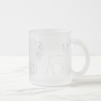 Bowhunter in Treestand Shooting Deer Frosted Glass Coffee Mug
