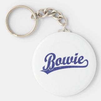 Bowie script logo in blue basic round button key ring