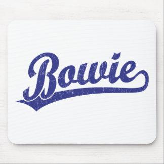 Bowie script logo in blue mousepads