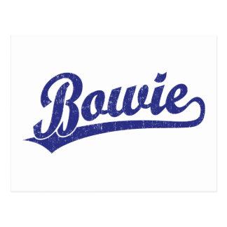 Bowie script logo in blue postcard