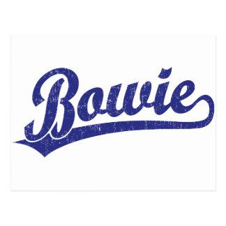 Bowie script logo in blue postcards