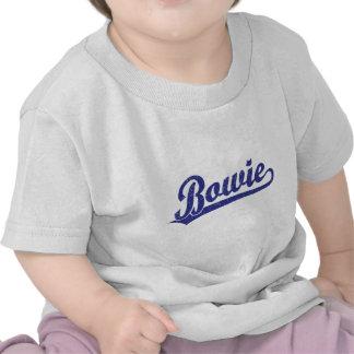 Bowie script logo in blue t-shirt