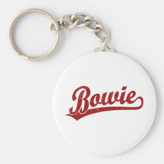 Bowie script logo in red basic round button key ring