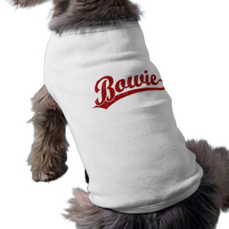 Bowie script logo in red dog t shirt