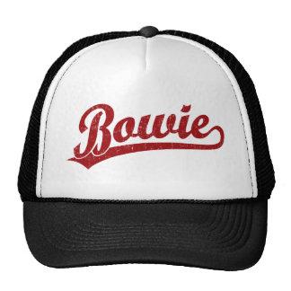 Bowie script logo in red hats