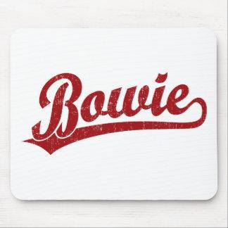 Bowie script logo in red mousepad