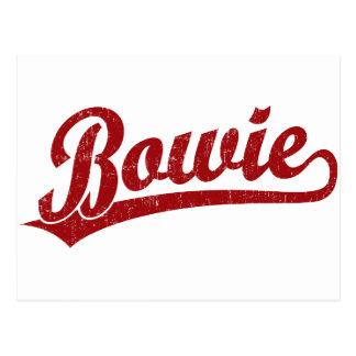 Bowie script logo in red postcard