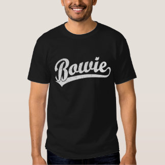 Bowie script logo in white tee shirts