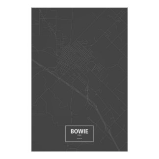 Bowie, Texas (white on black) Poster