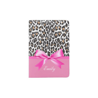 Bowknot,Leopard Print Hot Pink personalized Passport Holder