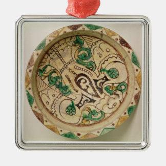 Bowl (earthenware) Silver-Colored square decoration
