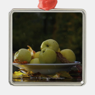 Bowl of apples and leaves christmas ornament