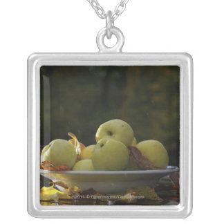 Bowl of apples and leaves silver plated necklace