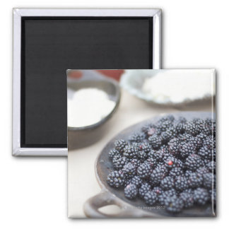 Bowl of blackberries on a table square magnet