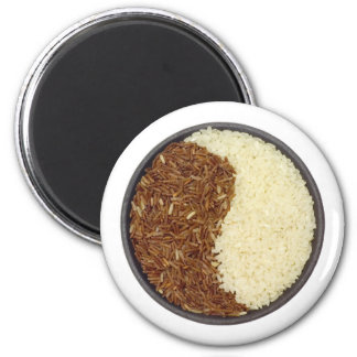 Bowl of brown and white rice refrigerator magnet