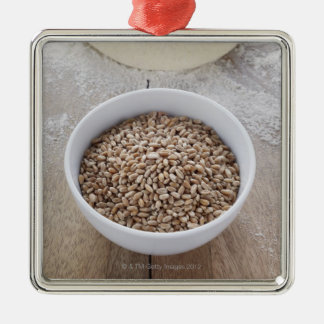 Bowl of Cereal Grain and Mound of Dough Silver-Colored Square Decoration