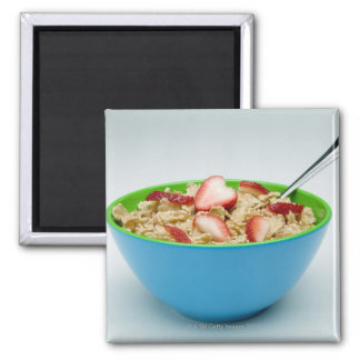 Bowl of cereal square magnet