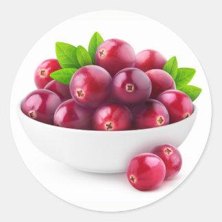 Bowl of cranberries round sticker