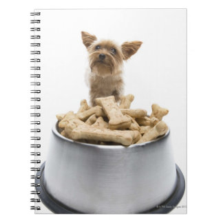 Bowl of dog treats by Yorkshire Terrier Notebook
