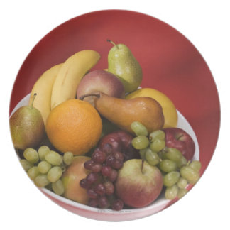 Bowl of fresh fruits party plate