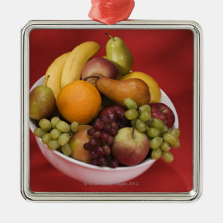 Bowl of fresh fruits Silver-Colored square decoration