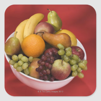 Bowl of fresh fruits square stickers