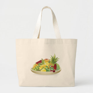 Bowl of fruit illustration canvas bags