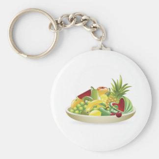 Bowl of fruit illustration keychain