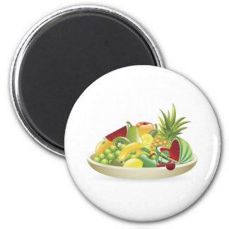 Bowl of fruit illustration refrigerator magnet
