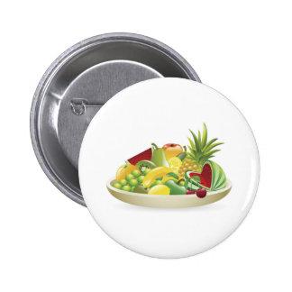 Bowl of fruit illustration pinback buttons