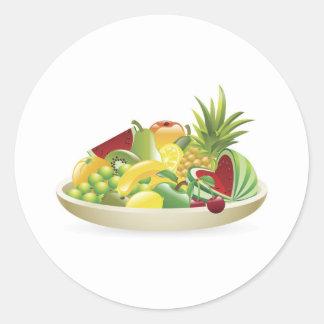 Bowl of fruit illustration round stickers