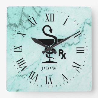 Bowl of Hygenia Pharmacist Custom Initials Marble Square Wall Clock