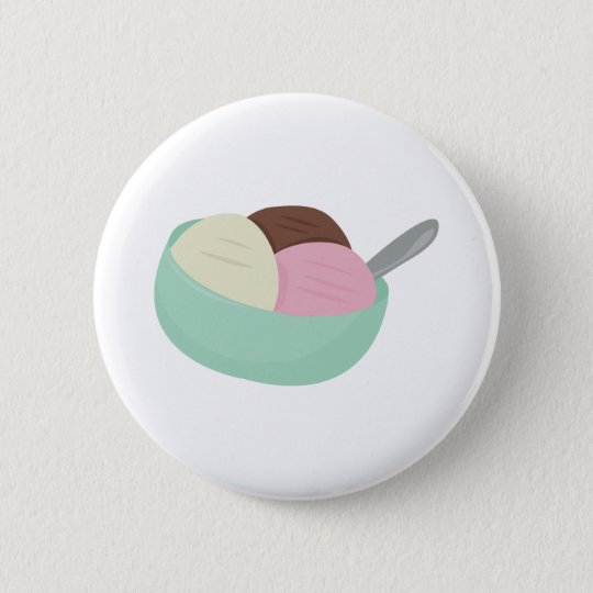 Bowl Of Ice Cream 6 Cm Round Badge