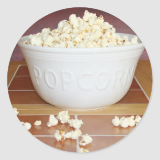 Bowl of Popcorn Round Sticker