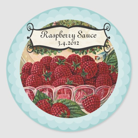 Bowl of raspberries fruit jam jelly canning label