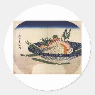 Bowl of Sushi circa 1800 s Japan Round Sticker
