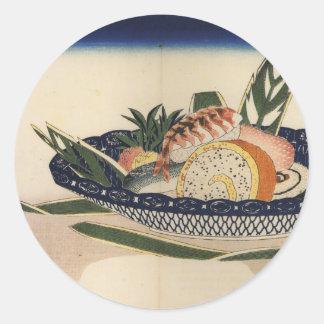 Bowl of Sushi, circa 1800's Japan. Round Sticker