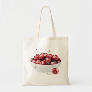 Bowl of sweet cherries tote bag