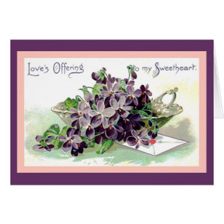 Bowl of Violets Valentine Card