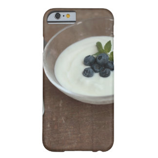 Bowl of yoghurt with blueberry on table barely there iPhone 6 case