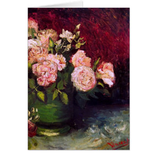 Bowl with Peonies & Roses Van Gogh Fine Art Greeting Card