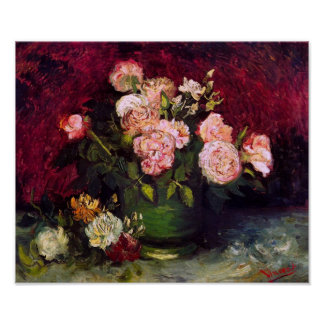 Bowl with Peonies & Roses Van Gogh Fine Art Poster