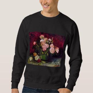 Bowl with Peonies & Roses Van Gogh Fine Art Sweatshirt