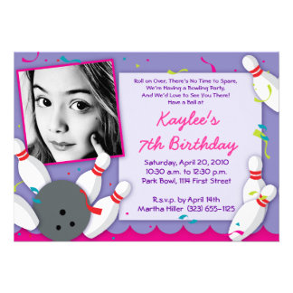 Bowled Over Party Invitation - Girls