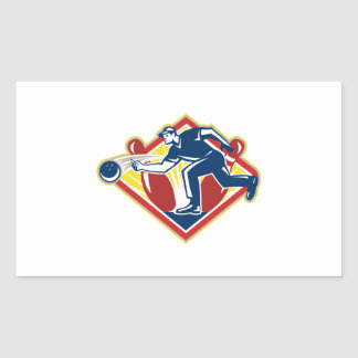 Bowler Bowling Ball Pins Side Retro Sticker