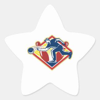Bowler Bowling Ball Pins Side Retro Stickers